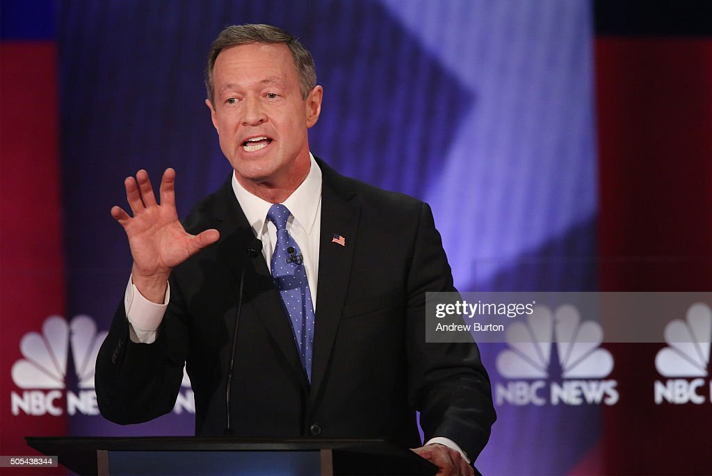 Democratic presidential candidate Martin O'Malley participates in the Democratic Candidates Debate hosted by NBC News and YouTube on January 17, 2016 in Charleston, South Carolina. This is the final debate for the Democratic candidates before the Iowa caucuses.