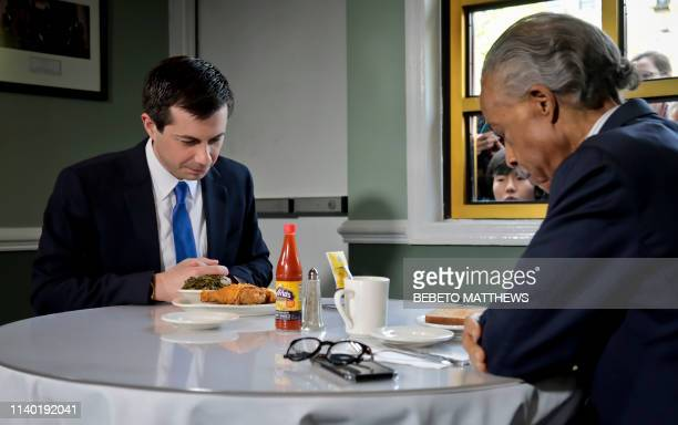 Democratic presidential candidate Mayor Pete Buttigieg of South Bend Indiana and civil rights leader Rev Al Sharpton President of National Action...