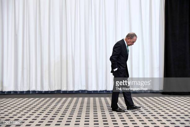 HOUSTON TX JANUARY Democratic Presidential Candidate Michael Bloomberg waits off stage before speaking to a group of Baptist ministers on Wednesday...