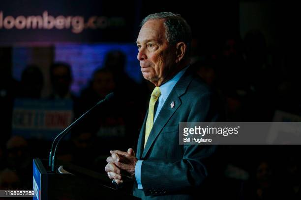 Democratic presidential candidate Mike Bloomberg holds a campaign rally on February 4, 2020 in Detroit, Michigan. Bloomberg skipped the early primary...