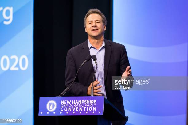 Democratic presidential candidate, Montana Gov. Steve Bullock speaks during the New Hampshire Democratic Party Convention at the SNHU Arena on...