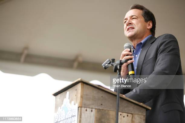 Democratic presidential candidate, Montana Gov. Steve Bullock speaks to attendees at the Blue Jamboree on October 5, 2019 in North Charleston, South...
