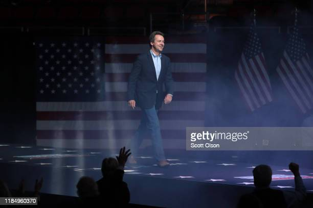 Democratic presidential candidate Montana governor Steve Bullock speaks at the Liberty and Justice Celebration at the Wells Fargo Arena on November...