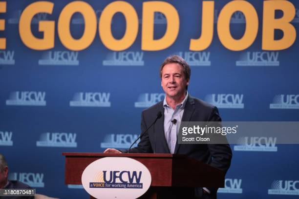 Democratic presidential candidate Montana governor Steve Bullock speaks to guests at the United Food and Commercial Workers' 2020 presidential...