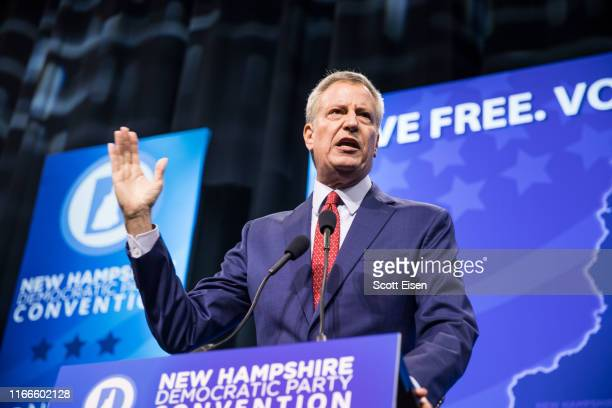 Democratic presidential candidate New York City Mayor Bill de Blasio speaks during the New Hampshire Democratic Party Convention at the SNHU Arena on...