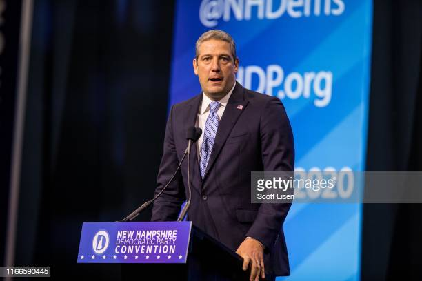 Democratic presidential candidate, Rep. Tim Ryan speaks during the New Hampshire Democratic Party Convention at the SNHU Arena on September 7, 2019...
