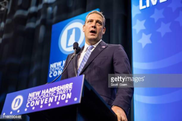 Democratic presidential candidate Rep Tim Ryan speaks during the New Hampshire Democratic Party Convention at the SNHU Arena on September 7 2019 in...