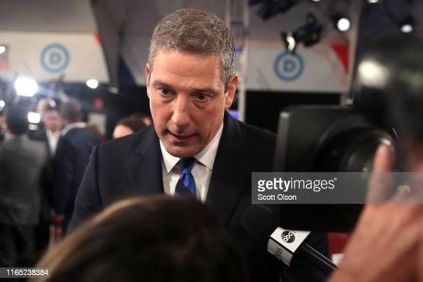 Democratic presidential candidate Rep Tim Ryan speaks to the media in the spin room after the Democratic Presidential Debate at the Fox Theatre July...