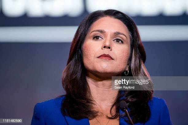 Democratic presidential candidate Rep Tulsi Gabbard addresses the crowd during the 2019 South Carolina Democratic Party State Convention on June 22...