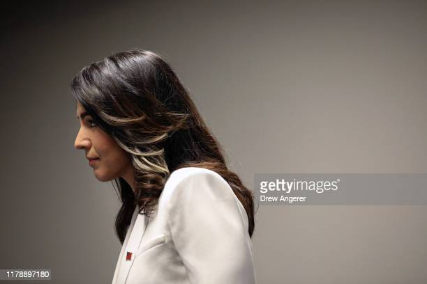 Democratic presidential candidate Rep Tulsi Gabbard arrives for a press conference at the 9/11 Tribute Museum in Lower Manhattan on October 29 2019...