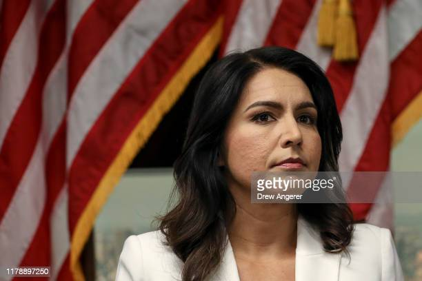 Democratic presidential candidate Rep Tulsi Gabbard speaks during a press conference at the 9/11 Tribute Museum in Lower Manhattan on October 29 2019...