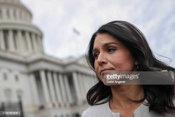 Democratic Presidential candidate Rep Tulsi Gabbard speaks to reporters at US Capitol after the last votes of the week on January 10 2020 in...