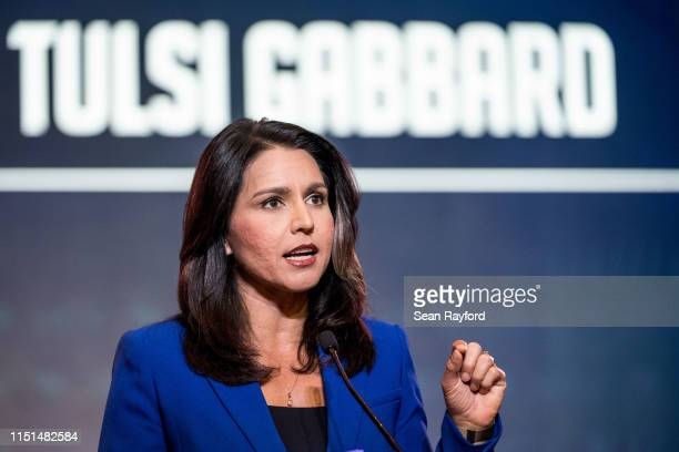 Democratic presidential candidate Rep Tulsi Gabbard speaks to the crowd during the 2019 South Carolina Democratic Party State Convention on June 22...