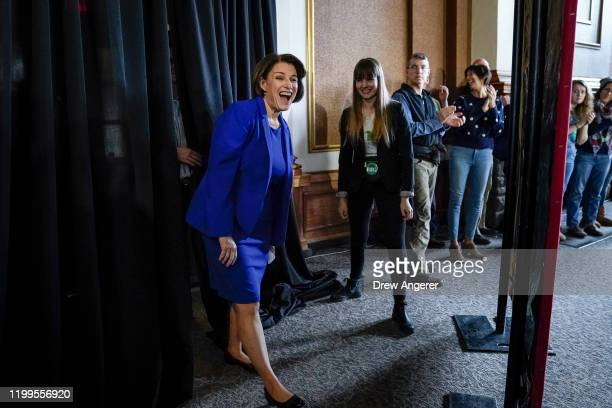 Democratic presidential candidate Sen. Amy Klobuchar arrives for a get out the vote event at the University of New Hampshire on February 8, 2020 in...
