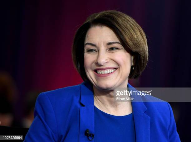 Democratic presidential candidate Sen. Amy Klobuchar is interviewed on MSNBC inside the spin room at Bally's Las Vegas Hotel & Casino after the...