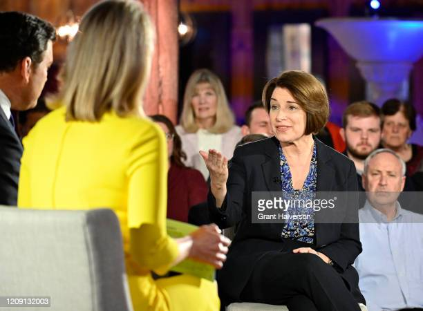Democratic presidential candidate Sen Amy Klobuchar participates in a Fox News Channel town hall comoderated by Bret Baier and Martha MacCallum at...
