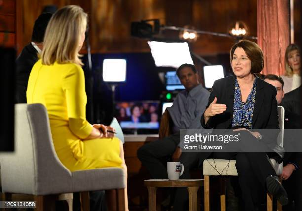 Democratic presidential candidate Sen. Amy Klobuchar participates in a Fox News Channel town hall co-moderated by Bret Baier and Martha MacCallum at...
