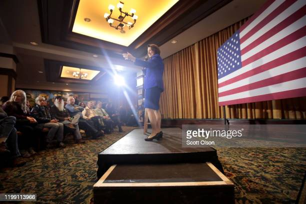 Democratic presidential candidate Sen Amy Klobuchar speaks at a campaign stop at the Hotel Pattee on January 12 2020 in Perry Iowa The 2020 Iowa...
