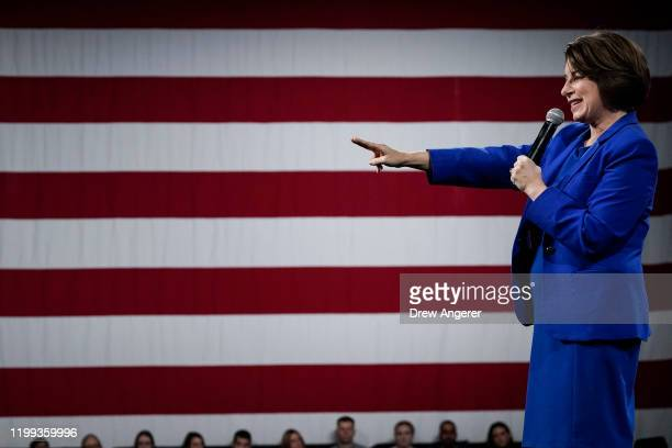 Democratic presidential candidate Sen. Amy Klobuchar speaks at the Our Rights, Our Courts forum on February 8, 2020 in Concord, New Hampshire. New...