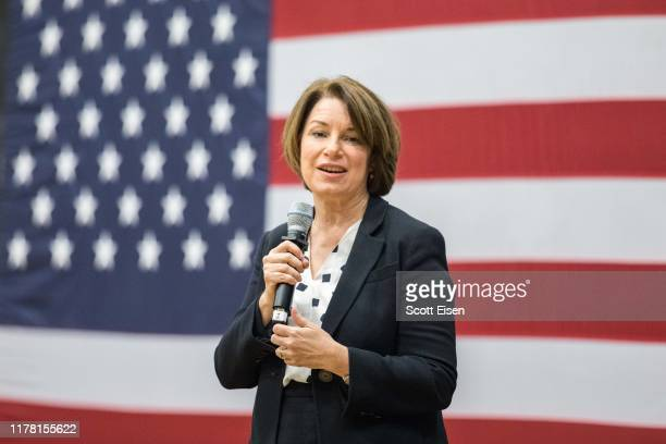 Democratic presidential candidate Sen Amy Klobuchar speaks during a town hall at Nashua Community College on October 25 2019 in Nashua New Hampshire