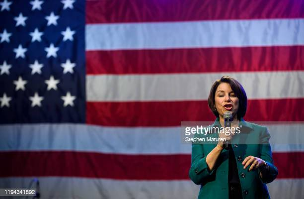 Democratic presidential candidate Sen Amy Klobuchar speaks during a campaign rally at First Avenue on January 17 2020 in Minneapolis Minnesota...