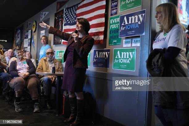 Democratic presidential candidate Sen. Amy Klobuchar speaks during a campaign stop at Miller's Sports Bar and Restaurant on December 27, 2019 in...