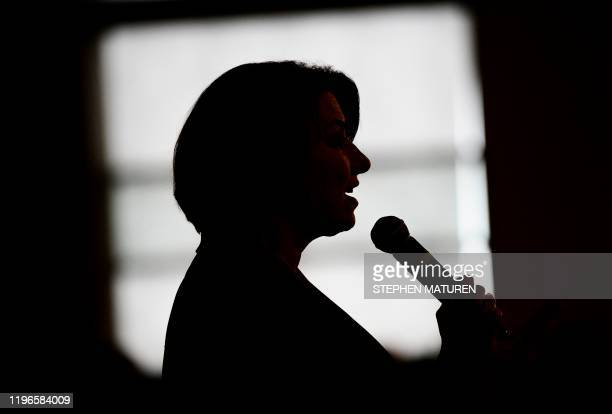 Democratic presidential candidate Sen. Amy Klobuchar speaks during a campaign stop in Waterloo, Iowa on January 26, 2020. - Klobuchar, and other...