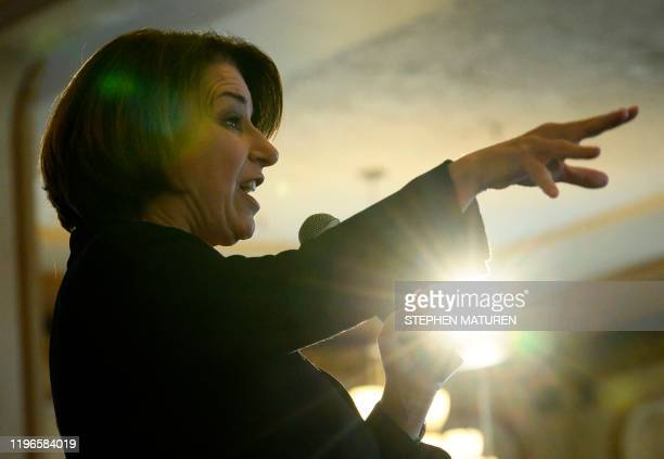 Democratic presidential candidate Sen Amy Klobuchar speaks during a campaign stop in Waterloo Iowa on January 26 2020 Klobuchar and other Democratic...