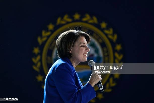 Democratic presidential candidate Sen Amy Klobuchar speaks during a get out the vote event at the University of New Hampshire on February 8 2020 in...