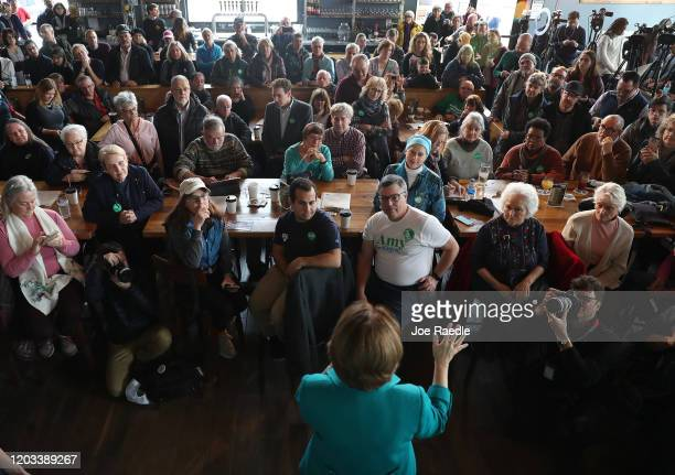 Democratic presidential candidate Sen Amy Klobuchar speaks during a campaign stop at Crawford Brew Works on February 01 2020 in Bettendorf Iowa...