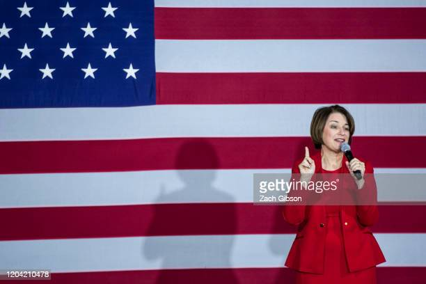 Democratic Presidential Candidate Sen Amy Klobuchar speaks during a campaign rally at the Altria Theatre on February 29 2020 in Richmond Virginia...