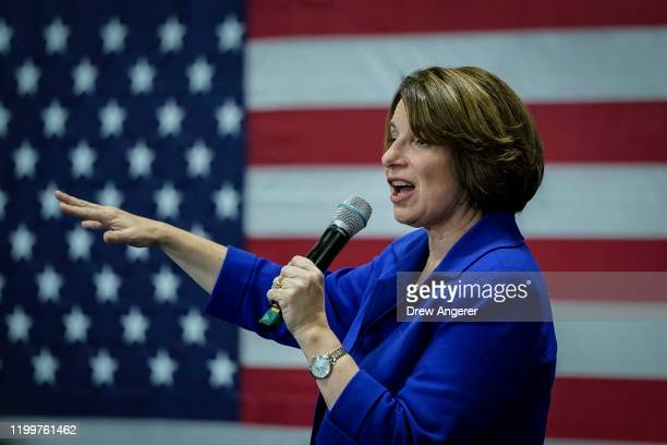 Democratic presidential candidate Sen Amy Klobuchar speaks during at a campaign event at the Woodbury School on February 9 2020 in Salem New...