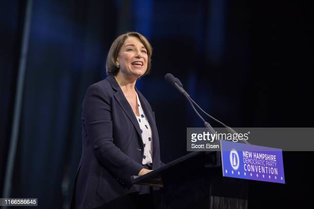 Democratic presidential candidate Sen Amy Klobuchar speaks during the New Hampshire Democratic Party Convention at the SNHU Arena on September 7 2019...