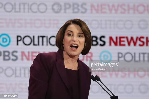 Democratic presidential candidate Sen Amy Klobuchar speaks during the Democratic presidential primary debate at Loyola Marymount University on...