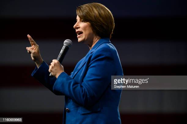 Democratic presidential candidate Sen Amy Klobuchar speaks on stage during a forum on gun safety at the Iowa Events Center on August 10 2019 in Des...