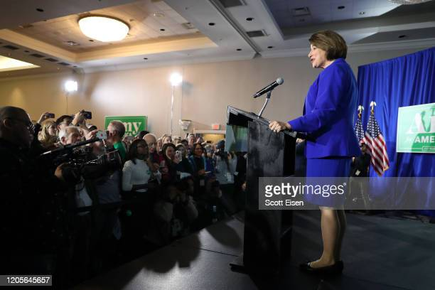 Democratic presidential candidate Sen. Amy Klobuchar speaks on stage during a primary night event at the Grappone Conference Center on February 11,...