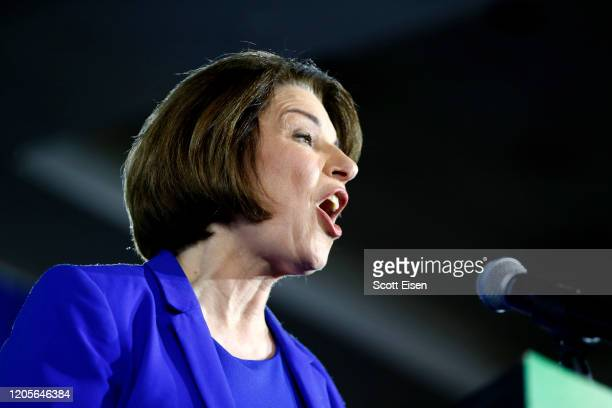 Democratic presidential candidate Sen Amy Klobuchar speaks on stage during a primary night event at the Grappone Conference Center on February 11...