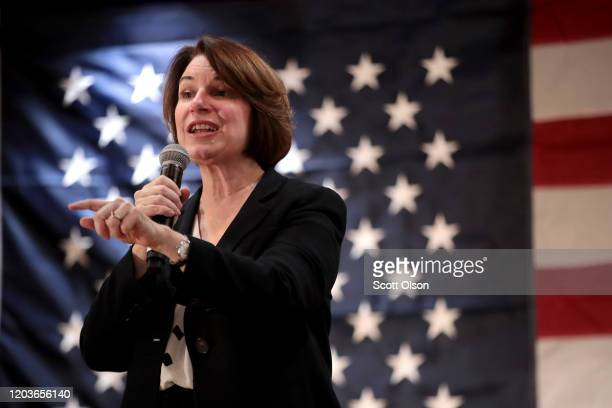 Democratic Presidential Candidate Sen Amy Klobuchar speaks to guests during a campaign stop at Music Man Square on February 2 2020 in Mason City Iowa...