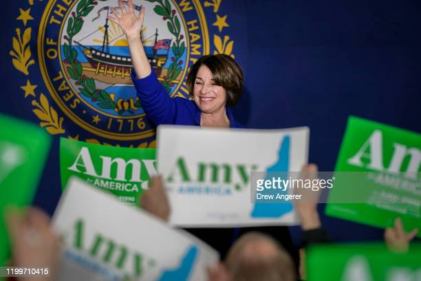 Democratic presidential candidate Sen Amy Klobuchar waves after speaking during a Get Out The Vote event at the University of Southern New Hampshire...