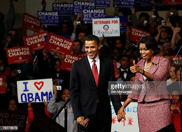 Democratic presidential candidate Sen Barack Obama and his wife Michelle celebrate his victory in the South Carolina primary with supporters at the...