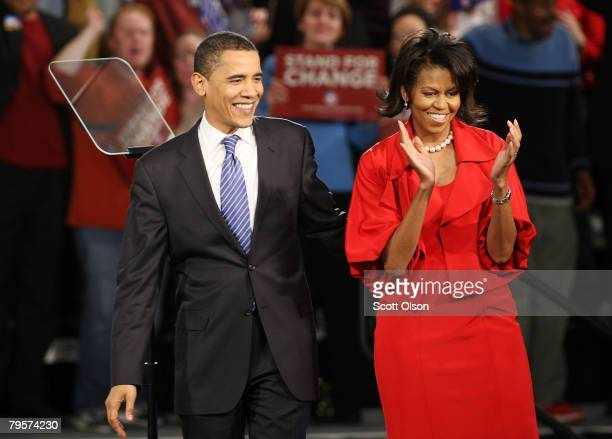 Democratic presidential candidate Sen. Barack Obama and his wife Michelle take the stage for a Super Tuesday post-primary rally at the Hyatt Hotel...