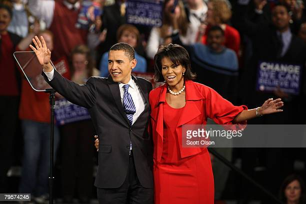 Democratic presidential candidate Sen Barack Obama and his wife Michelle take the stage for a Super Tuesday postprimary rally at the Hyatt Hotel...