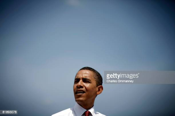 Democratic presidential candidate Sen Barack Obama DIll talks with the media on June 20 2008 in front of the St Johns River in Jacksonville Florida