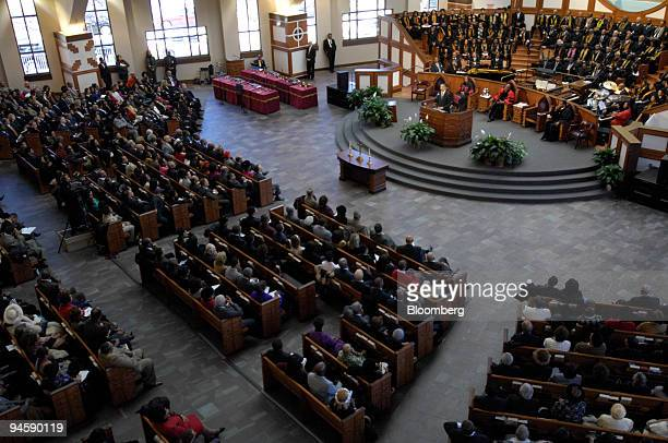 Democratic Presidential candidate Sen Barack Obama standing in the pulpit addresses members of the congregation of Ebenezer Baptist Church in Atlanta...