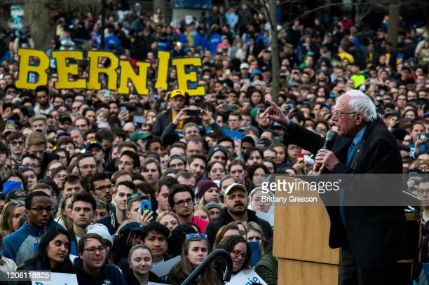 Democratic presidential candidate Sen Bernie Sanders addresses supporters during a campaign rally on March 8 2020 in Ann Arbor Michigan Sanders...