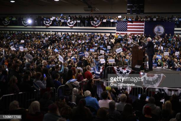 Democratic presidential candidate Sen Bernie Sanders addresses supporters during a campaign rally in the Batten Student Center on the campus of...