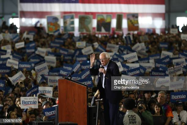 Democratic presidential candidate Sen Bernie Sanders addresses supporters during a campaign rally at South Hall March 01 2020 in San Jose California...