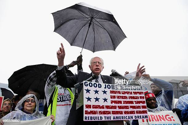 Democratic presidential candidate Sen Bernie Sanders addresses a rally with protesters calling for higher wages for federal contract workers in the...