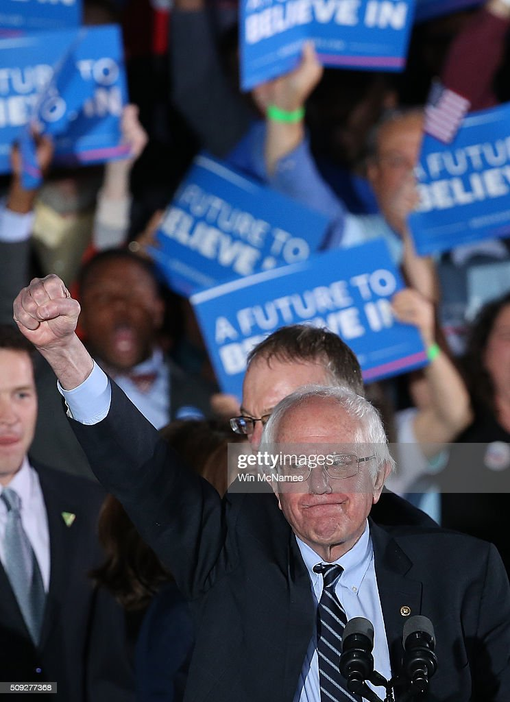 Democratic presidential candidate, Sen. Bernie Sanders (D-VT) addresses supporters after winning the New Hampshire Democratic Primary February 9, 2016 in Concord, New Hampshire. Sanders defeated Democratic presidential candidate Hillary Clinton in the first-in-the-nation primary.