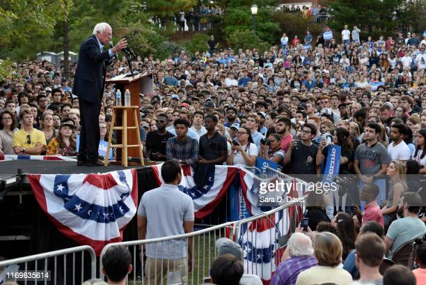 Democratic presidential candidate Sen Bernie Sanders addresses an audience on the campus of the University of Chapel Hill during a campaign rally on...